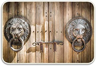 Huayuanhurug Antique Wooden Door Knocker Shaped Like a Lions Head Custom Doormat with Non Slip Flannel Ultra Absorbent Kitchen Bathroom Rug