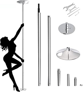amzdeal Dancing Pole 45mm Spinning Static Stripper Pole for Home Portable Removable Pole Kit for Beginner Fitness Exercise Club Party Pub Home