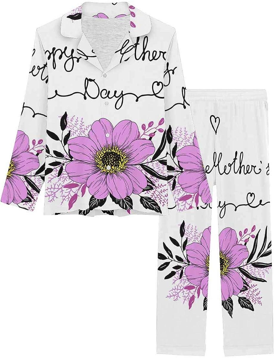 InterestPrint Women's Pajamas Set Button Down Sleepwear with Long Pants Decor of Flower