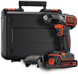 Black+Decker AutoSense batteriborr, borrmaskin (18 V 1,5 Ah, med automatisk vridmomentinställning, inklusive batteri och 9...