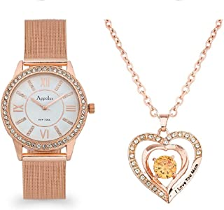 Gifts for Mom Engraved I Love You Mom - Appolus Watch Necklace Set
