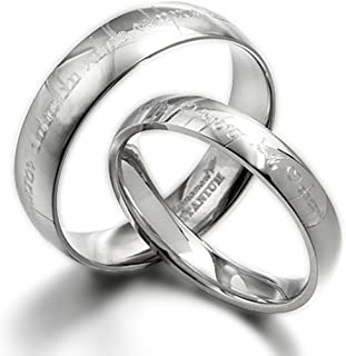 Gemini His & Her Couple Personalized Elvish Tengwar Matching Wedding Titanium Rings Set, Dome Court, Valentine's Day Gift US size 4-16.5 (half sizes available)