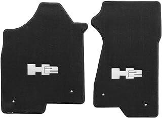 Fits 2003-2007 H2 Hummer Ebony Black Floor Mats - Silver H2 Logo