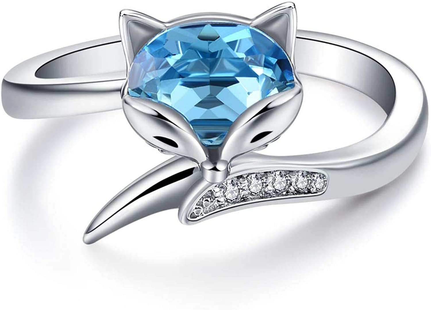 Max 86% OFF AOBOCO Sterling Silver Fox Ring for Aquamarine Women Simulated Some reservation