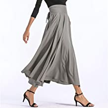 Slit Long Maxi Skirt Vintage Pleated Flared Pockets Lace Up Bow Plus Size 4XL Skirt
