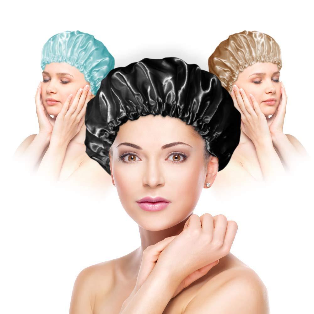PUSSAER 3Pack Shower Cap for Women Houston Direct stock discount Mall Reusable Extra Long EVA Hair