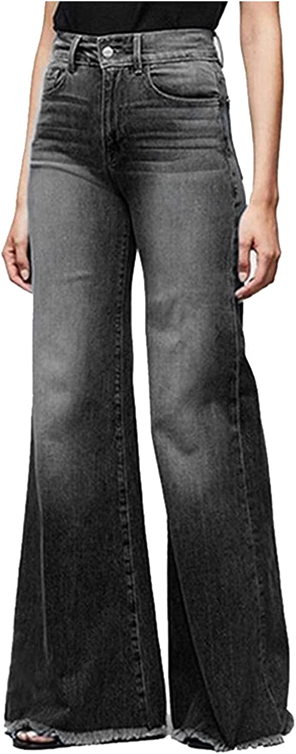 GERsome Women's Wide-Leg Jeans Fashion Casual Loose Washed Denim Jeans Casual Solid Color Stretch Slim Pants Trousers