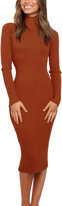 MEROKEETY Women's Ribbed Long Sleeve Sweater Dress High Neck Slim Fit Knitted Midi Dress