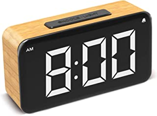 Alarm Clock,Digital Clock for Bedrooms Easy Use Clock with Snooze 6'' LED Large Display Number,6 Brightness Dimmer,Wood Grain Clock with USB Charge,Electric Beside Clocks for Kids Adults