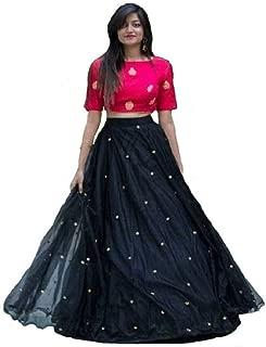 Ghaludi Fab Women Net kurta (egb_black_Free Size,Ghaludi Fab Women's Heavy net Golden Moti Work Semi-stitched Lehenga Choli with Blouse Piece and Dupatta (Black; Free Size)