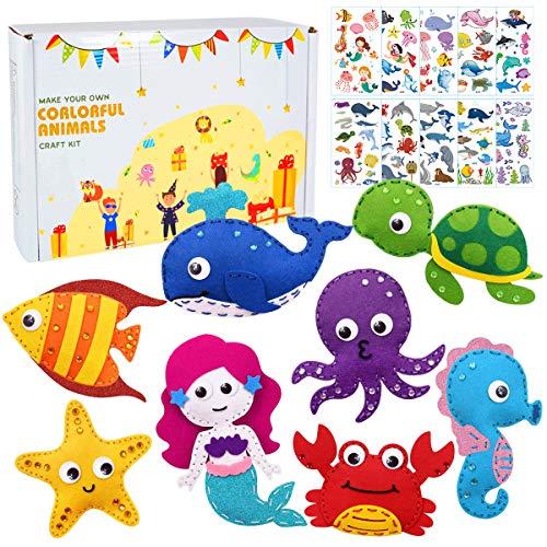 specool Kit de Costura de Animales Marinos Haz tus propios animales marinos Sirena Kit de artesanía de fieltro para niños Kit de artesanía de costura educativa para adultos Principiantes Chicos Chicas