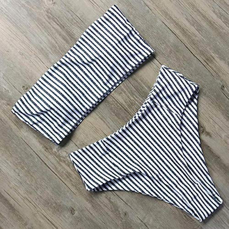 HITSAN 2018 Off Shoulder Swimsuit High Waist Bikini Set Strapless Bikini Push up Swimwear Women Bathing Suit Beach Wear Biquini color B1891BK Size M