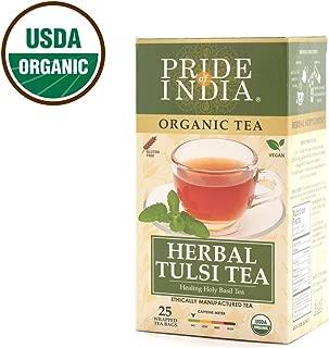 Pride Of India Organic Tulsi Herbal Tea, 25 Tea Bags, Decaf