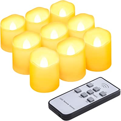 AMIR Flameless Candles with Remote, Flickering Tea Light Candles with Timer, Votive Candles Battery Operated for Christmas Thanksgiving Decorations,5 Brightness, 3 Models,Battery Included, Warm White