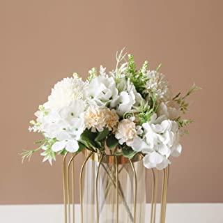 SHINE-CO LIGHTING Artificial Peony Fake Flowers Silk Hydrangea Bouquet Carnations Faux Flower for Home Offi...