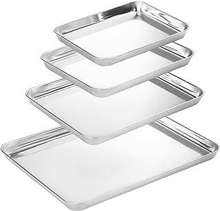 ورق پخت Suwimut 4 تایی ، تابه های مخصوص پخت فولاد ضد زنگ سینی ورق کوکی ، نیم تابه مخصوص پخت ، غیر سمی ، تمیز کردن آسان و ایمن در ماشین ظرفشویی