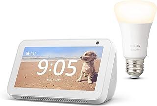 Echo Show 5, Blanco + Philips Hue Bombilla Inteligente (E27), compatible con Alexa
