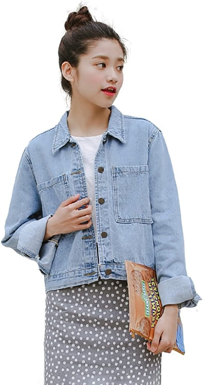 TSINYG Women's Loose Long Sleeves BF Casual Denim Jacket ( color   bluee , Size   M )