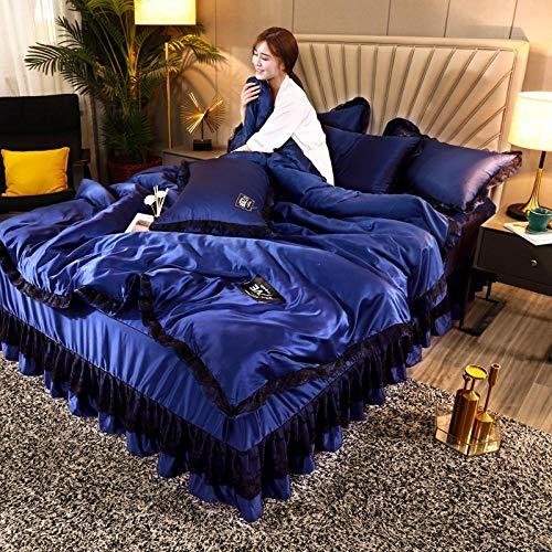 juegos de sábanas 150,Falda de cama de cuatro piezas funda nórdica de encaje de seda lavada colcha antideslizante de seda de hielo ropa de cama de seda de primavera y verano-D_Cama de 1,8 m (4 piezas