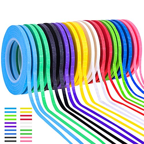 Whiteboard Tape, Shynek 20 Rolls 1/8 Thin Art Tape Dry Erase Chart Tape Pinstriping Electrical Tape White Board Tape Lines, Assorted Colors