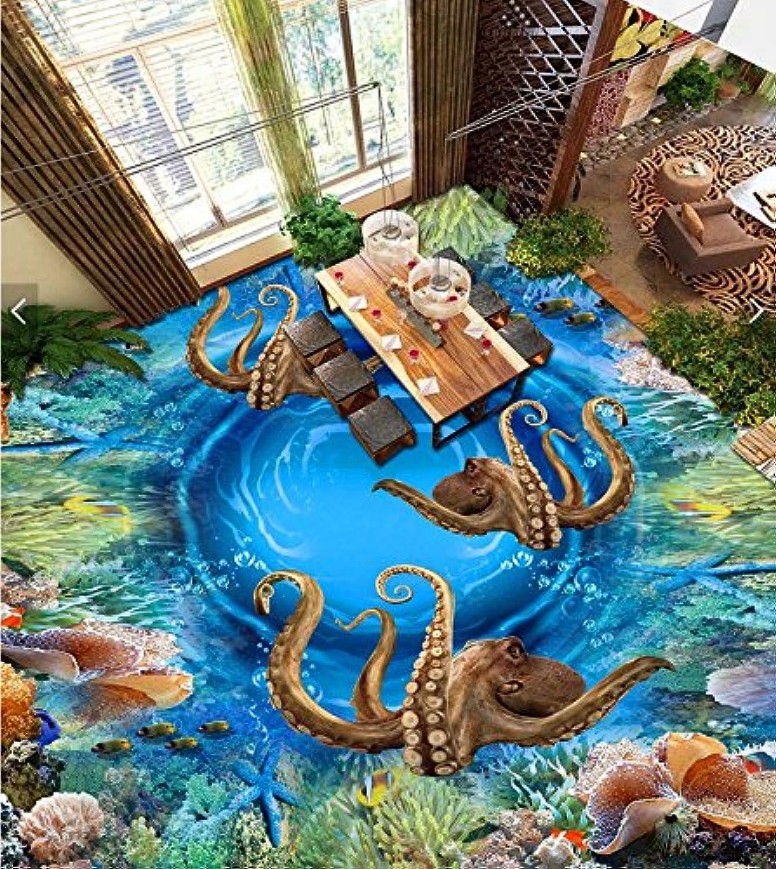 Weaeo Personalizado Mural 3D Suelo Imagen Pvc Papel Tapiz Auto Adhesivo Mar Pulpo Coral Decoración Del Hogar Pintura 3D Murales De Parojo Fondo De Pantalla-200X140cm