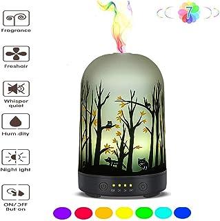 エッセンシャルオイルディフューザー - ガラスアロマ超音波加湿器 - 7色変化LED、無水自動消灯、タイマー設定、BPAなし(100mlアラジン)