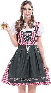 Women's German Oktoberfest Dirndl Dress Bavarian Beer Maid Costume for Halloween