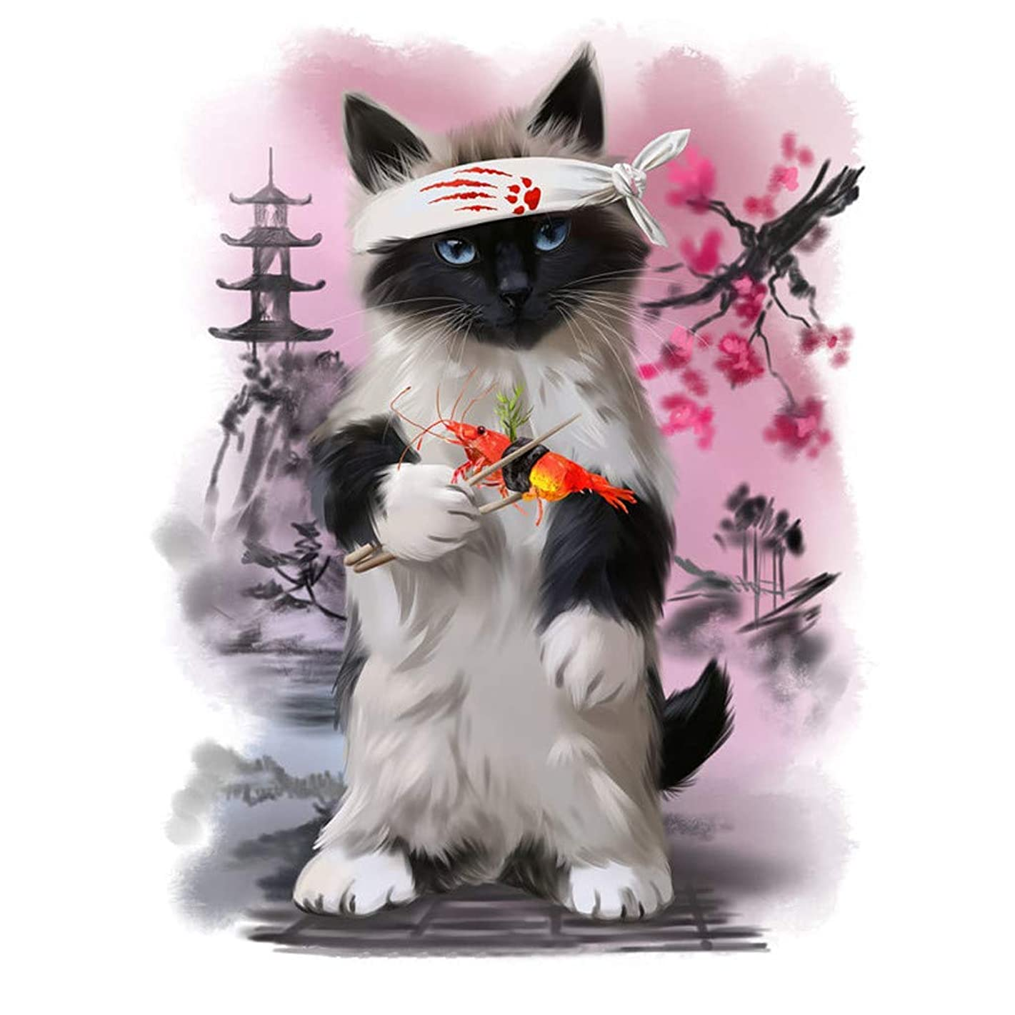 BoutiQ 2019 Diamond Painting by Number Kits 5D Crystal Rhinestone Embroidery Pictures Arts Craft for Home Decor Wall Decorative Drills Cross Stitch DIY Canvas Tools (Kungfu Cat, 11.8x15.7in)
