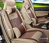 Amooca VTI Universal Front Rear Car Seat Cushion Cover Brown&Beige 10pcs Full Set Needlework PU Leather