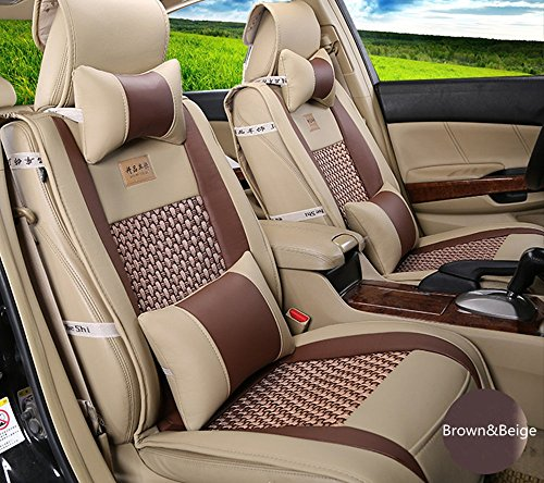 Amooca VTI Universal Front Rear Car Seat Cushion Cover Brown&Beige 10pcs Full Set Needlework PU Leather
