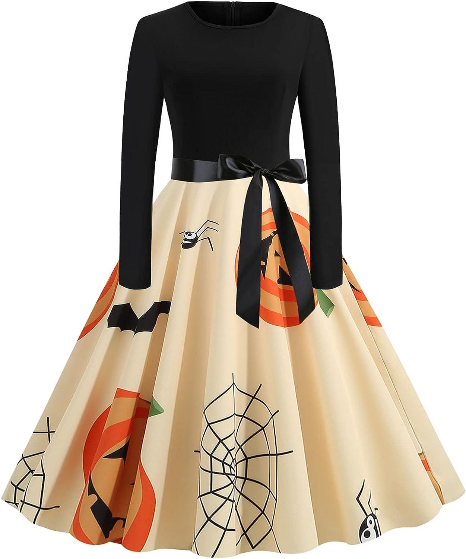 Hemlock Halloween Dress Philadelphia Mall Women Sale item Long 1950s Sleeve Retro Dresses Ev