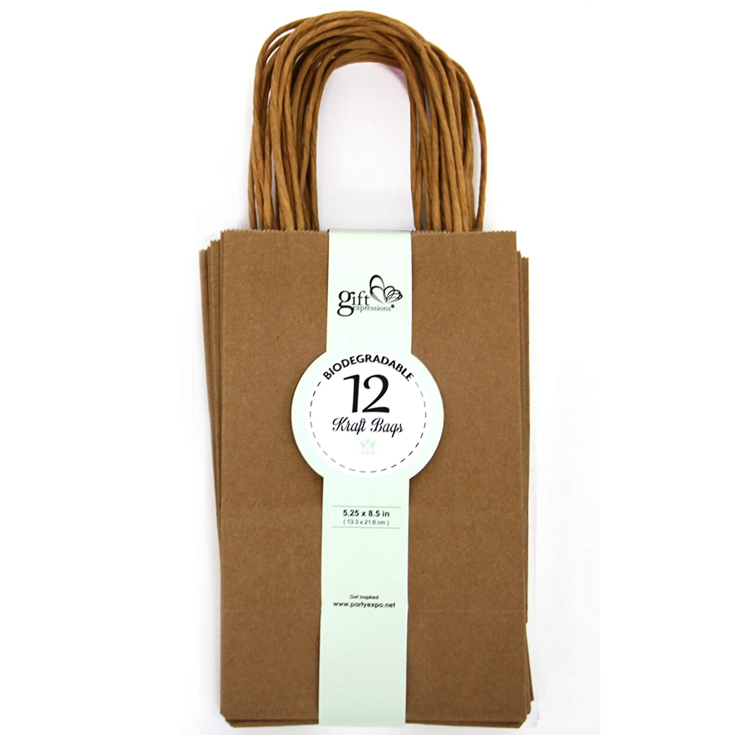 12CT SMALL BROWN BIODEGRADABLE PAPER, PREMIUM QUALITY PAPER (STURDY & THICKER), KRAFT BAG WITH STURDY HANDLE