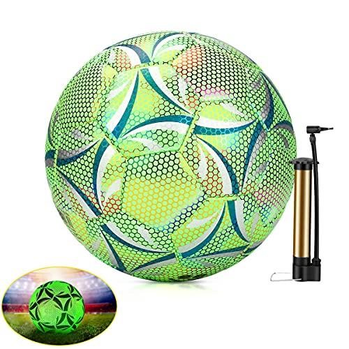 Reflektierender Fußball Im Dunkeln Leuchtender Fußball Größe 5 Wikay Trainingsfußball Keine Batterie Erforderlich, Fluoreszierende Materialien Offizielle Größe Und Gewicht für Kinder Und Erwachsene