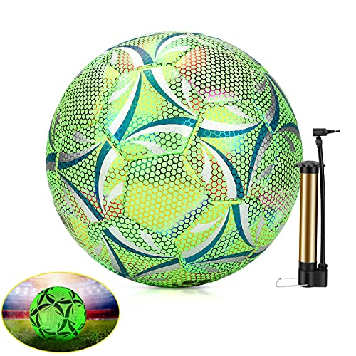 Balón De Fútbol Reflectante Luminoso Wikay Balones de Futbol Competición Training Balón Maravilloso Lustroso Balones de Fútbol de Entrenamiento Tamaño 5 Unisex Adulto