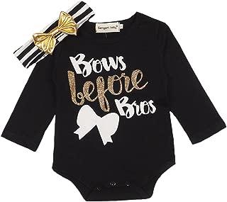 Newborn Baby Girls Clothes Bows Before Bros Bodysuit Romper Striped Headband Set