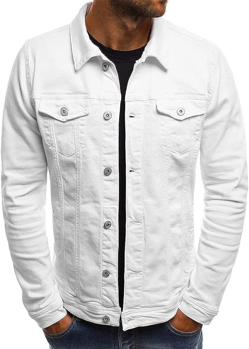 Solid Color Jeans Jacket Men's Fashion Fall Slim Jacket Casual Denim Jacket Lapel Streetwear