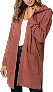 Women's Knit Cardigan Autumn Basic Long Sleeve Knit Open Front Sweater Cardigan Solid Color Hooded Cardigan