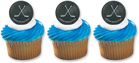 Hockey Puck Ring Cake Cupcake Topper (24-Pack)