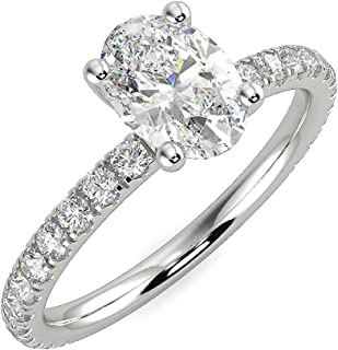 1 Carat Oval Lab Grown Diamond Engagement Ring for Women in 14k Gold D-E Color, cttw Size 4 to 11 by Beverly Hills Jewelers