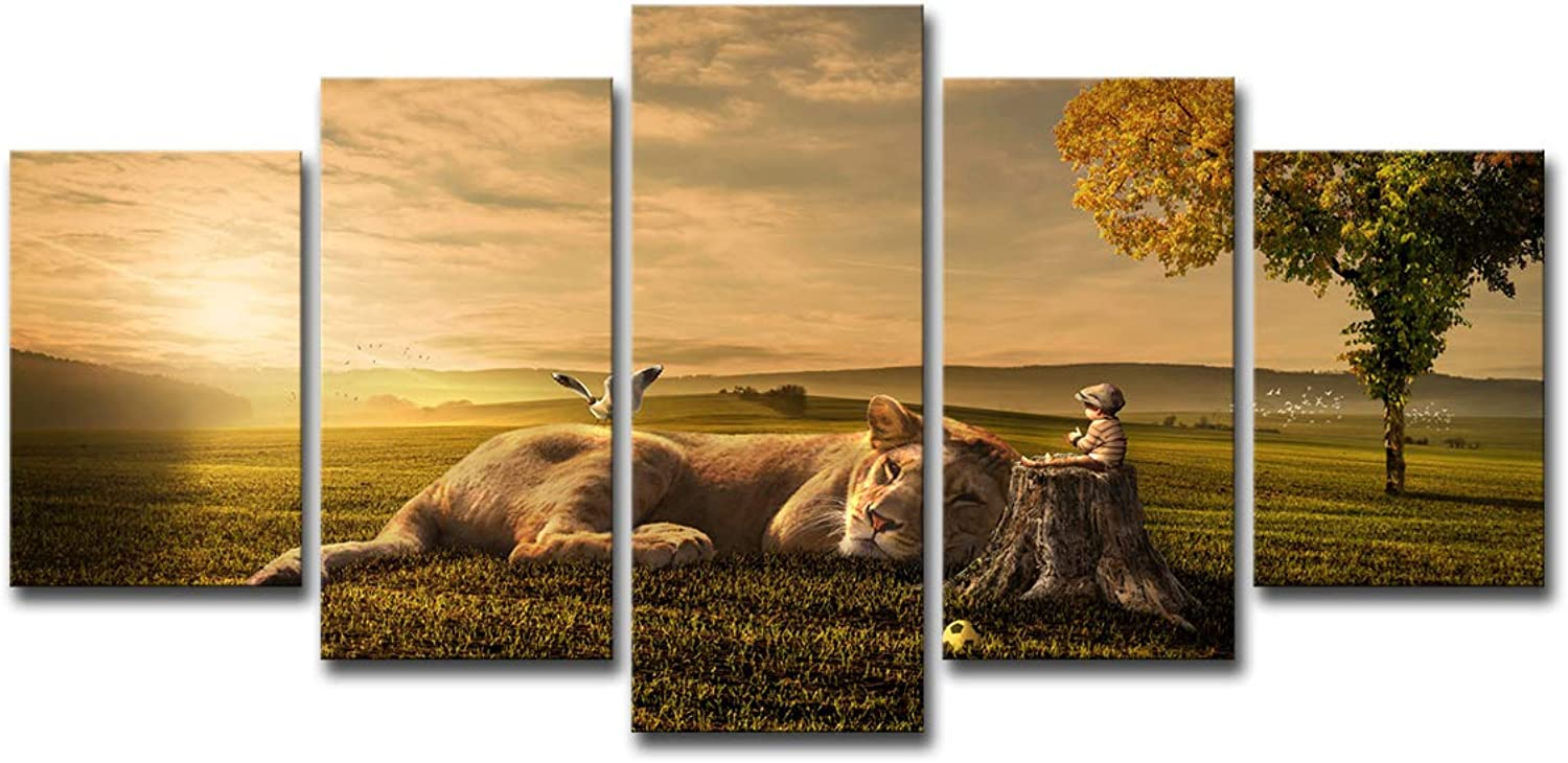 Sunset Little Boy Lion Dream Painting Canvas Wall Art 5 Panel Wall Art Wall Panels Canvas Large Abstract Home Decoration,Withinnerframe,S
