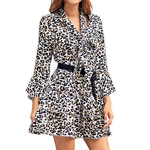 Modaworld Vestiti da Donna,Donna Leopardo Stampa Boho Maxi Dress Signore Vacanza Lunga Manica Lunga...