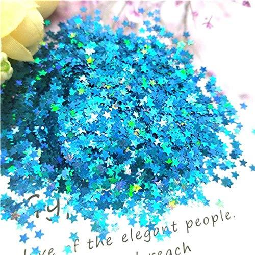 Paillettes à ongles 3D ultra-minces 3mm Étoile Laser Glitter PET Sequin lâche pour Nail Art Décoration Body Art Peinture Nail DIY Decor 10g, Laser Lake Blue 10g