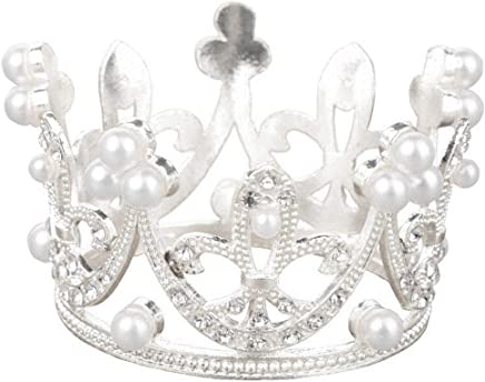 Blesiya Mini Cake Decoration Crown Headband for Girl and Baby Princess Crown Cupcake Stopper - Pearl