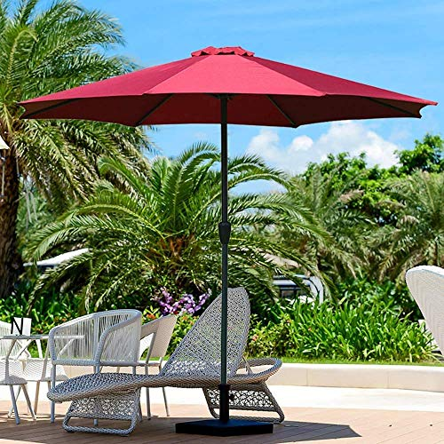 HZK Garden Patio Umbrella UV Protection Sun Umbrella For Outdoors Bench Patio For Summer Dining Accessory 2.7m WDDT (Size : Red)