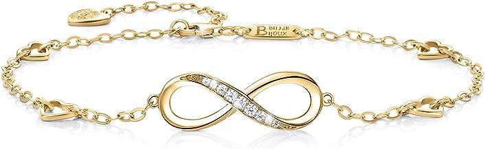 Billie Bijoux Pulsera de plata esterlina Mujer Símbolo Amor Infinito Brazalete de mujer ajustable regalo pulsera de tobillo ideal el día de San Valentín