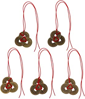 Hukai Chinese Coins Fortune Coin Feng Shui Coins Lucky I-Ching Coins With Red String One Size Colorful