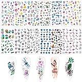 FLOFIA 12 Fogli Adesivi Unghie Estate Nail Stickers Autoadesivi per Unghie Estivi Adesivi Unghie Floreali Fiori Foglie Farfalla per Decorazione Nail Art Fai da Te