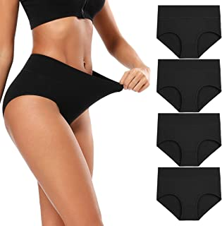 Molasus Women's Cotton Underwear Briefs Soft Breathable High Waisted Full Coverage Ladies Panties