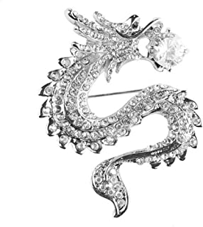 Axmerdal Chinese Style Dragon Zodiac Animal Brooch pin Corsage high end Suits Personalized Jewelry Badge (Crystal-Silver Plated)