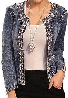 Donna Manica Lunga Giacca in Jeans Classico Casual Denim Jacket Vintage Slim Giacche Corti Giubbotto Capispalla per Autunn...